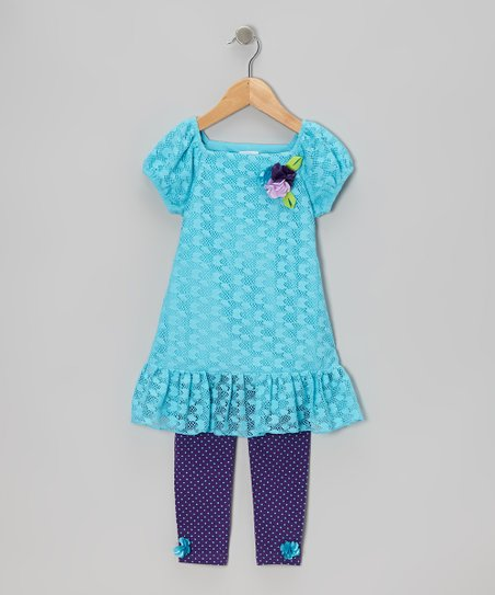 Teal Lace Tunic & Purple Leggings - Infant