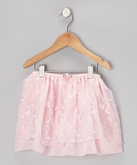 Pink Rhinestone Floral Skirt - Toddler & Girls