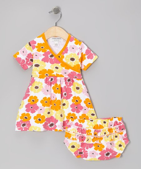 Orange Big Bloom Organic Dress & Diaper Cover