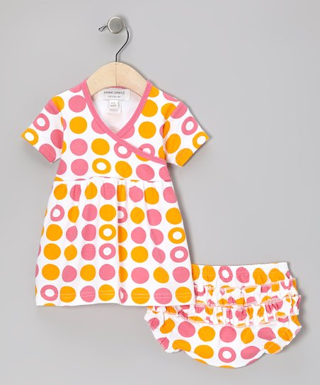 Pink & Orange Dot Organic Dress & Diaper Cover