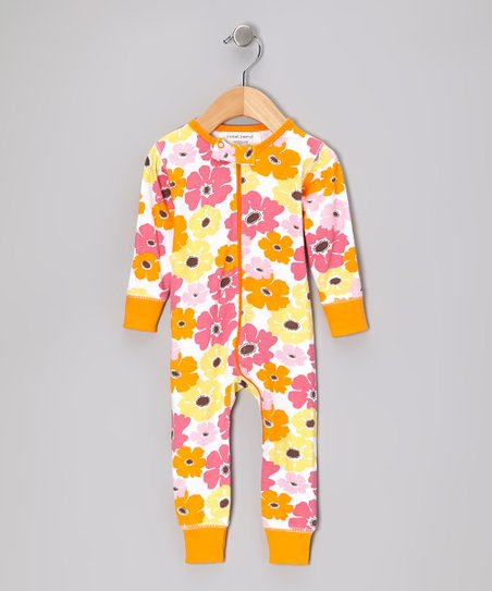 Orange Big Bloom Organic Playsuit