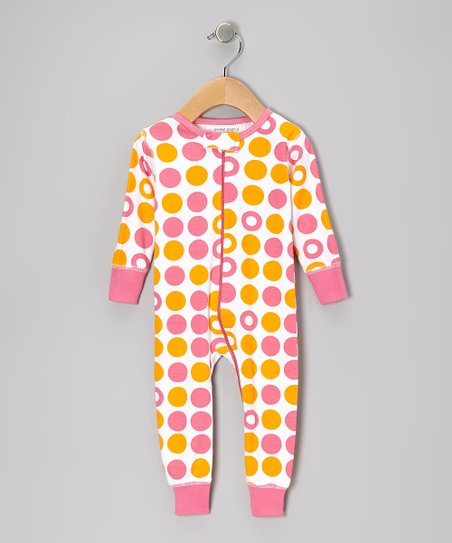 Pink & Orange Dot Organic Playsuit