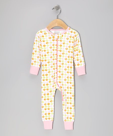Pink Alphabet Dot Organic Playsuit