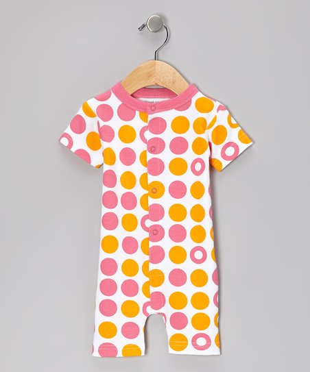 Pink & Orange Dot Organic Romper