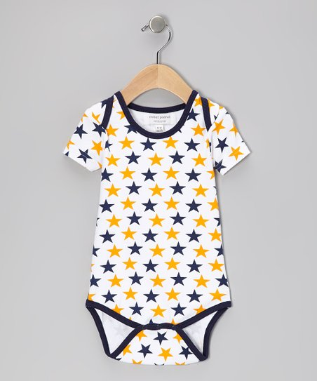 Blue & Orange Star Organic Bodysuit - Infant