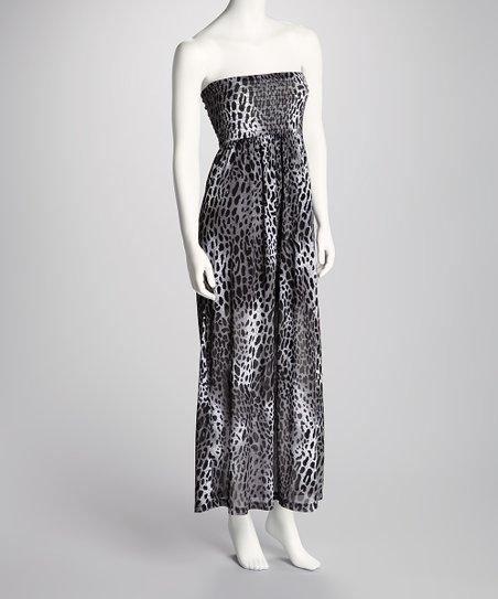 White & Black Cheetah Shirred Strapless Maxi Dress