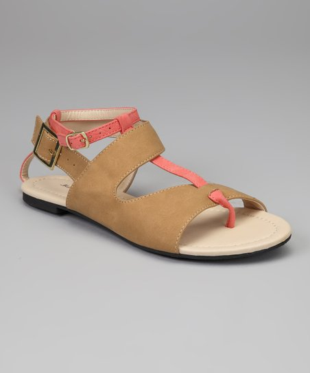 Brown & Coral Coni Sandal