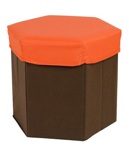 Orange Hexagonal Storage Bin Stool