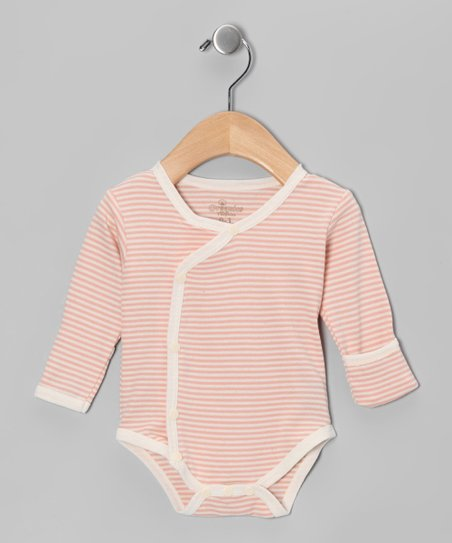Salmon Stripe Organic Wrap Bodysuit