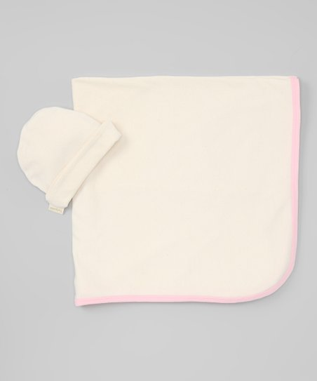 Pink Organic Stroller Blanket &amp; Beanie
