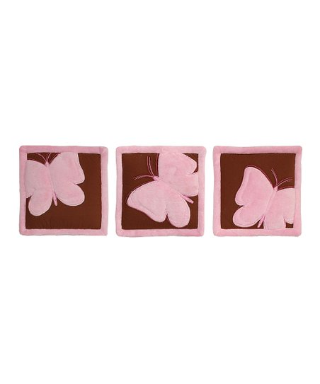 Pink Butterfly Quilted Wall Hanging – Set of Three