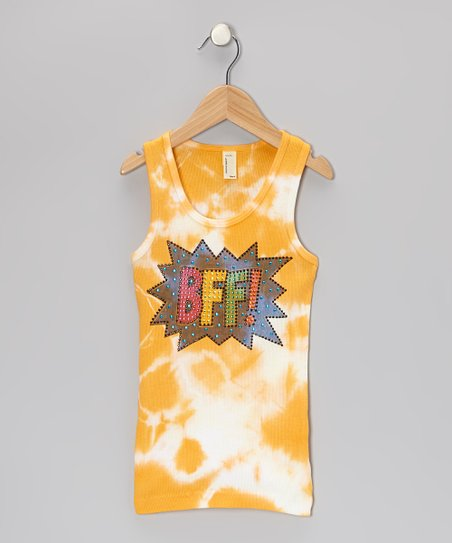 Orange & White Tie-Dye 'BFF!' Tank