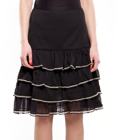 Black Perfect Tiered Skirt