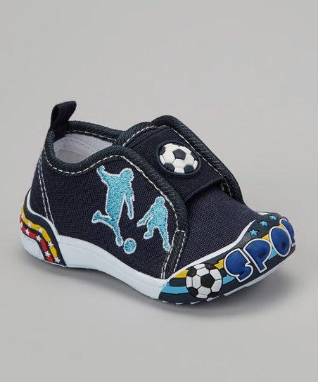 Navy Soccer Slip-On Shoe