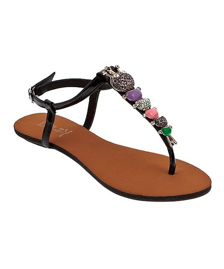 Black Pillar T-Strap Sandal