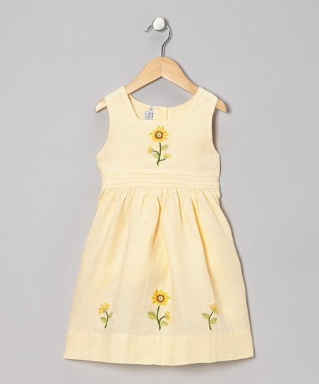 Yellow Sunflower Linen Dress - Infant, Toddler & Girls