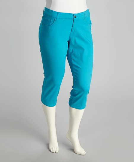 Cyan Oasis Plus-Size Capri Pants