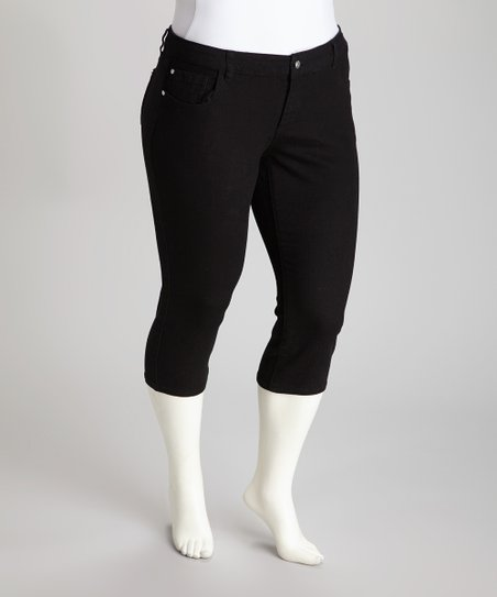 Black Denim Capri Pants - Plus