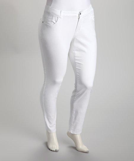 White Twill Skinny Pants – Plus