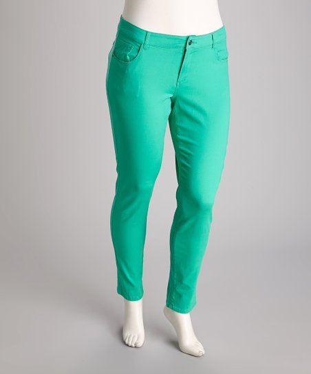 Aqua Mint Skinny Jeans - Plus