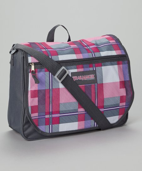 Pink Plaid Messenger Bag