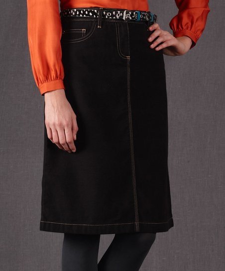 Black Everyday Denim A-Line Skirt - Women