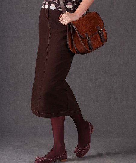 Dark Brown Modern Midi Skirt - Women