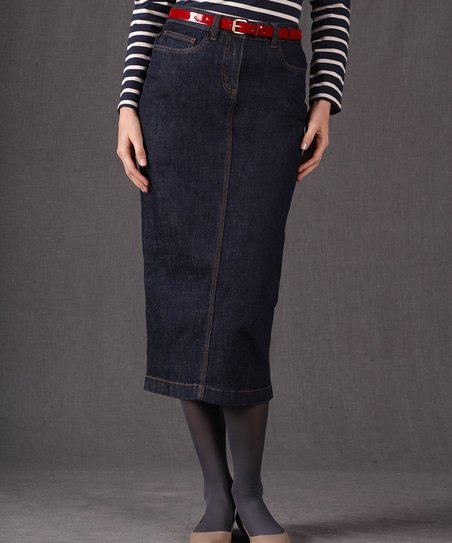 Indigo Denim Modern Midi Skirt - Women