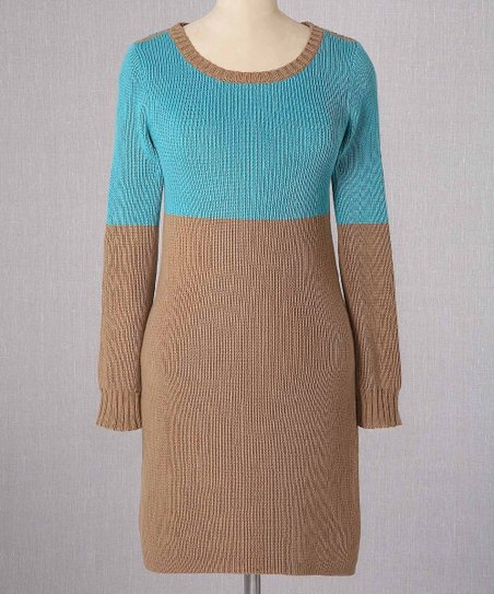 Pacific & Caramel Color Block Sweater Dress - Women
