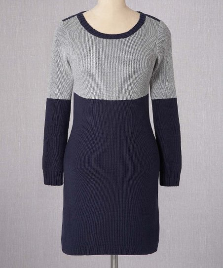 Gray & Navy Color Block Sweater Dress - Women