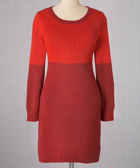 Vermillion & Cherry Color Block Sweater Dress - Women