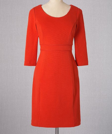Red Textured Ponte Dress - Women