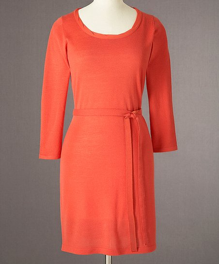 Orange Twist-Neck Merino Dress - Women
