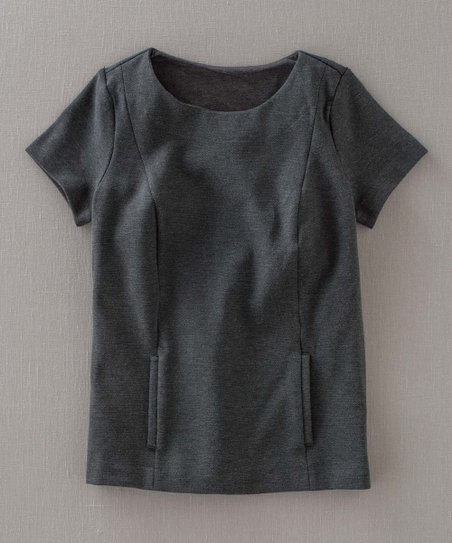 Dark Gray Ponte Short-Sleeve Top - Women