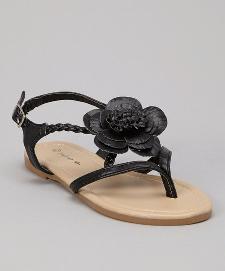 Black Blossom Braid Sandal - Kids