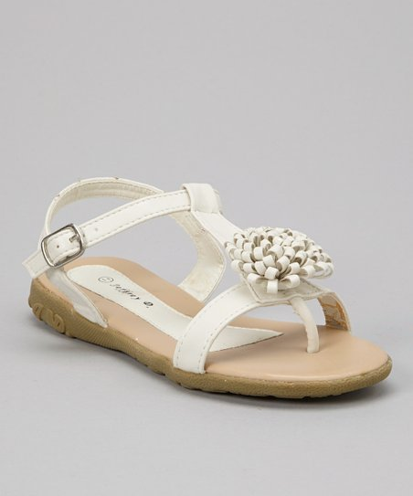 White Bloom T-Strap Sandal - Kids