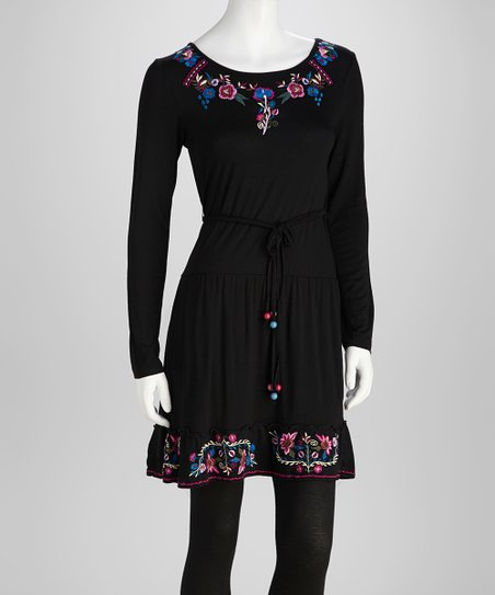 Black Floral Embroidered Belted Tunic