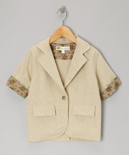 Tan Cannes Linen Blazer - Infant, Toddler & Girls