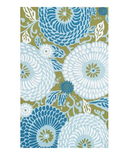 Green &amp; Blue Dandelion Indoor/Outdoor Rug