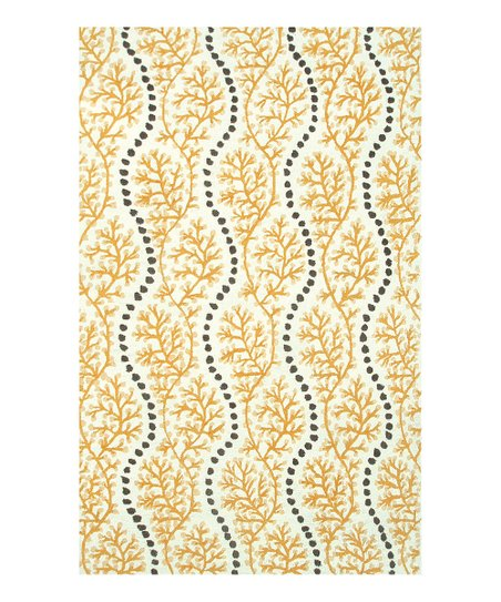 Yellow &amp; Gray Coral Cascade Indoor/Outdoor Rug