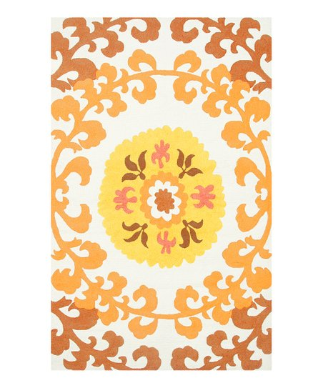 Yellow & Gold Suzani Indoor/Outdoor Rug