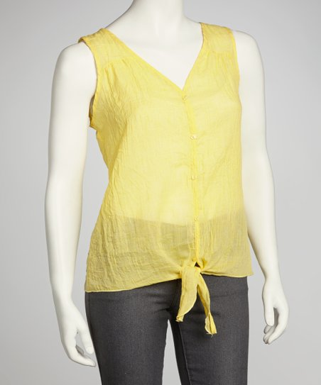 Yellow Sheer Front-Tie Top