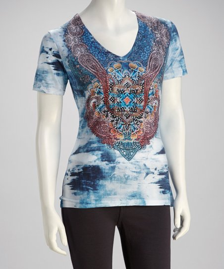 Blue & Orange Filigree Crystal-Embellished Top
