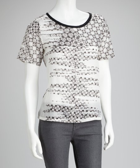 Black & White Graphic Silk-Blend Top