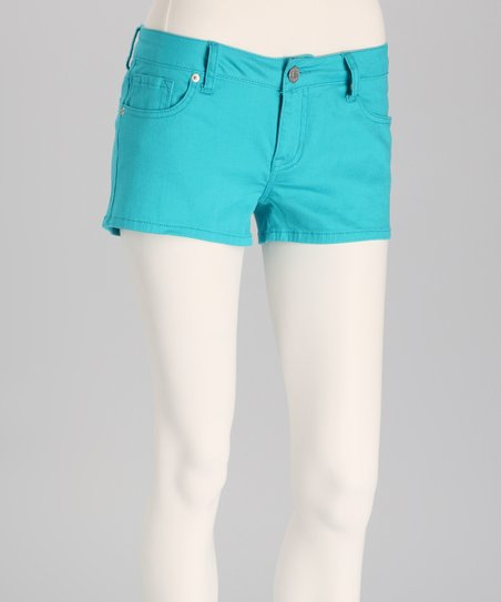 Peacock Blue Denim Shorts