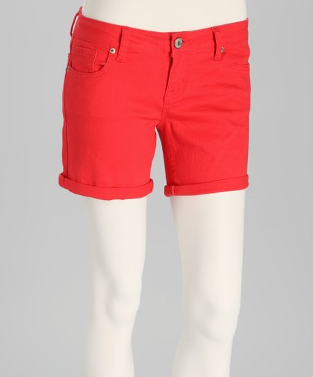 Orange Cuffed Denim Shorts