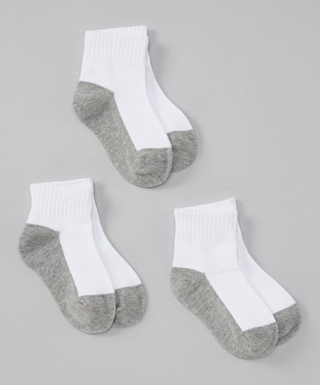 White & Gray Crew Socks Set - Infant & Toddler