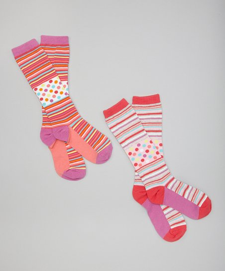 Polka Dot & Stripe Knee-High Socks Set - Girls
