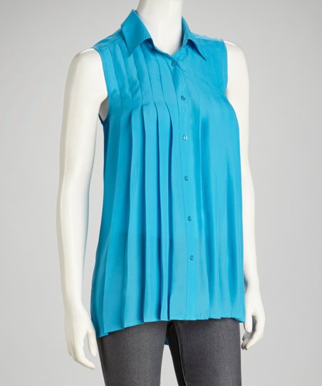 Turquoise Pleated Hi-Low Sleeveless Button-Up