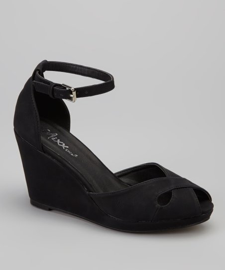Black Donna Peep-Toe Wedge